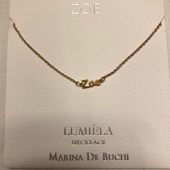 769dbca771dfd ZOE personalized gold tone necklace by Lumiela NWT